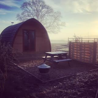 Glamping pod in the mist at notgrove